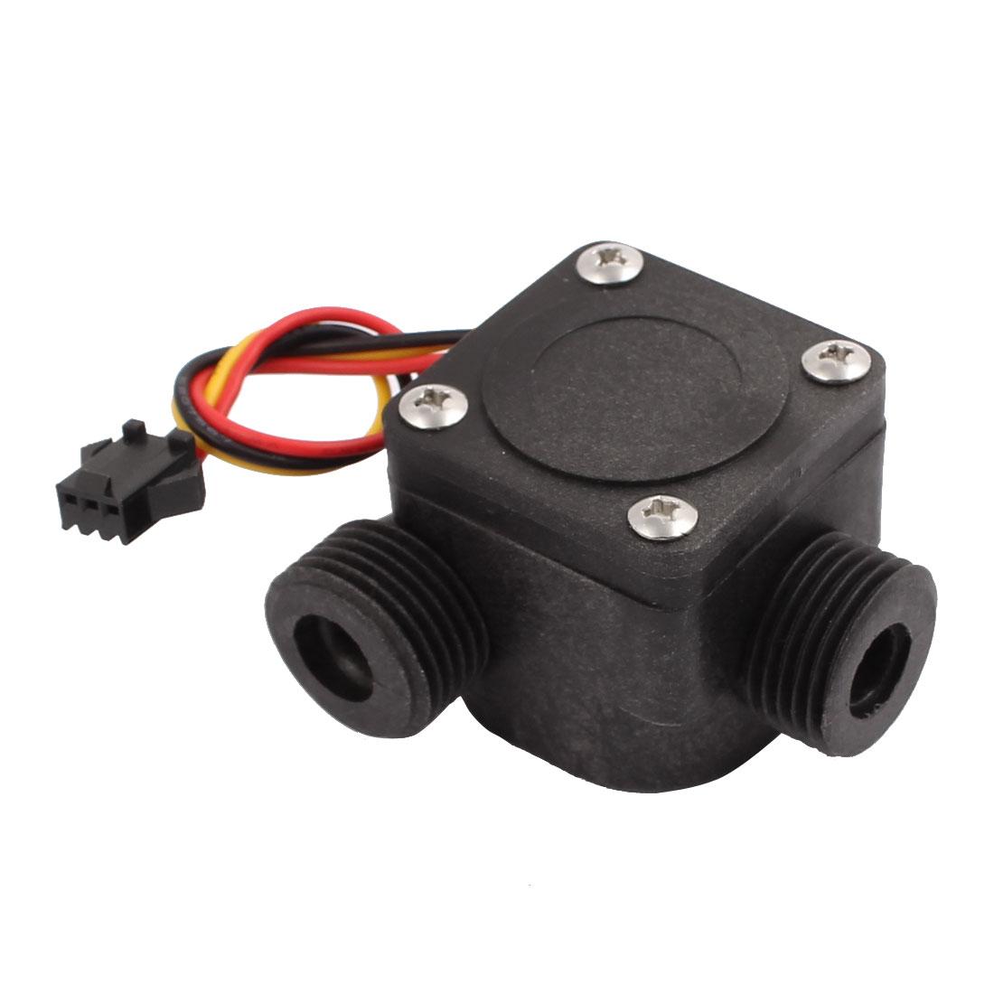 SEN-HW21WA G1/2 Male Thread Plastic Hall Water Flow Sensor 1-25L/min 55mm Right Angle