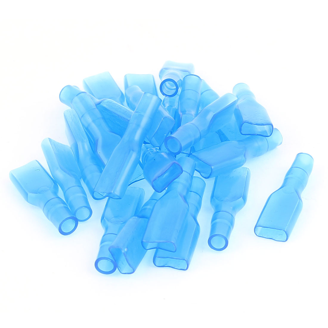 4.8mm Female Spade Wire Terminal Connector Insulated Cap Sleeve Cover Blue 25Pcs