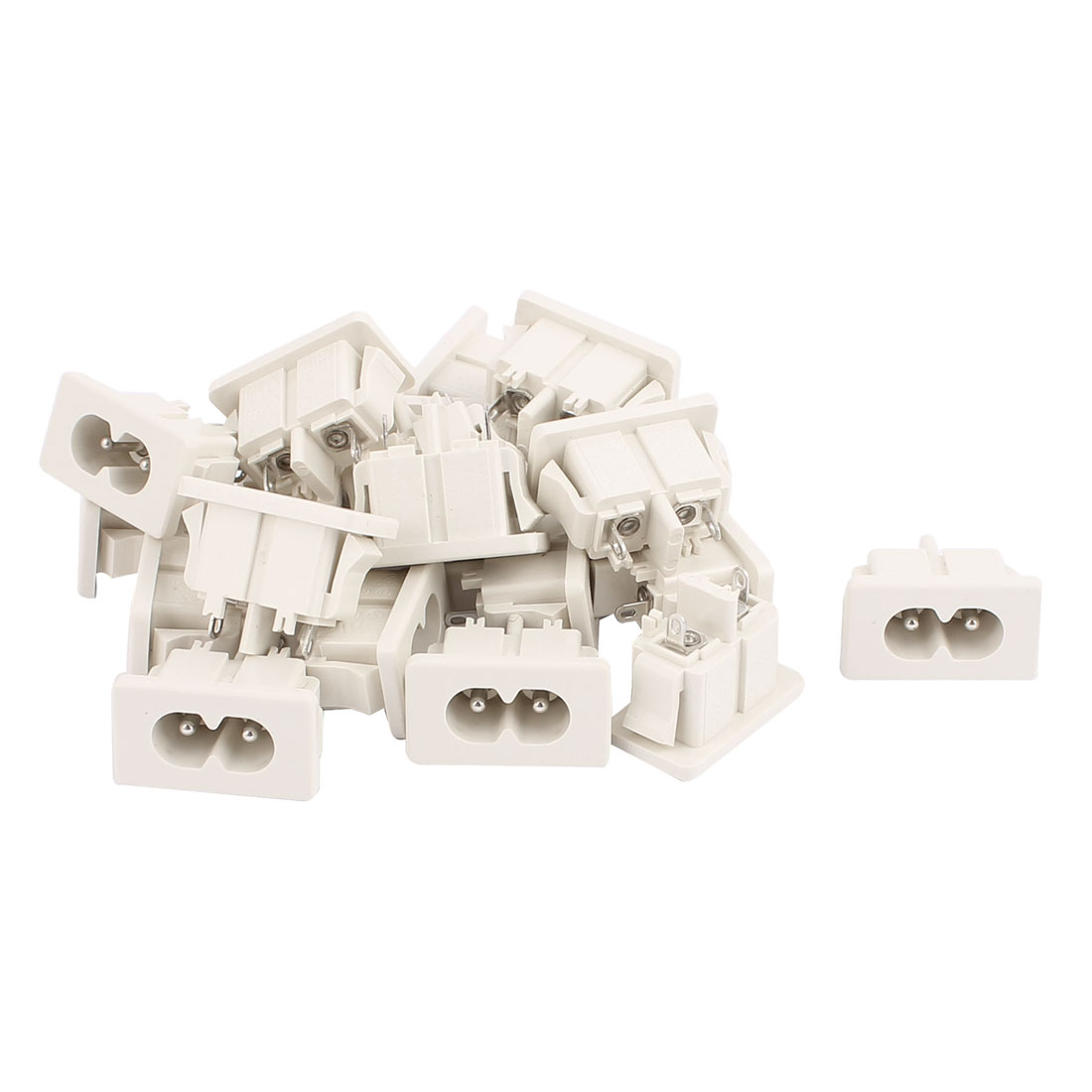 20Pcs AC 250V 5A PCB Board Panel Mount Male 2 Terminals Soldering C8 Type Power Inlet Connector White