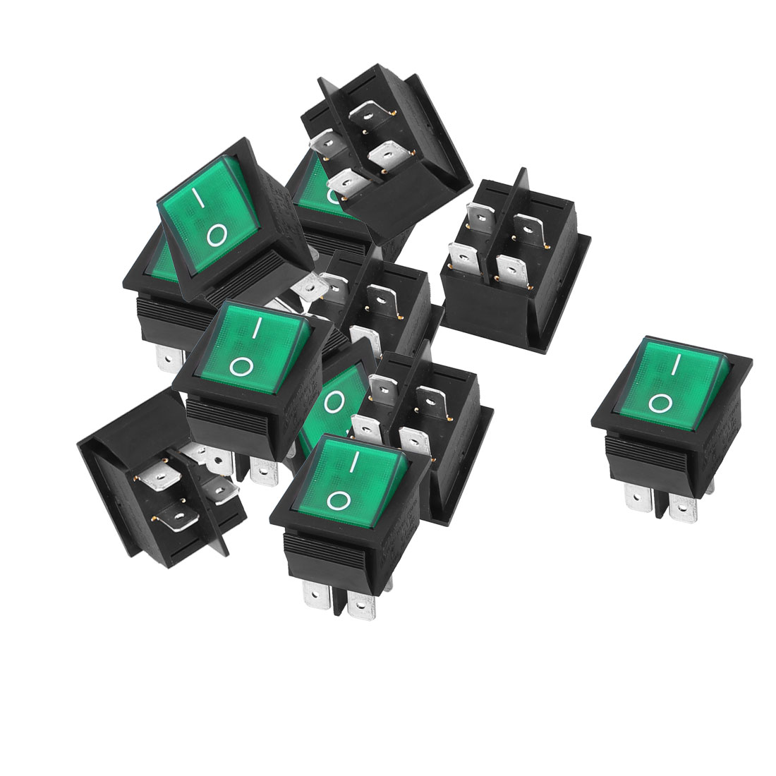 AC 125V/250V 16A 4 Terminal Green Light ON-OFF I/O SPST Boat Rocker Switch 12 Pcs