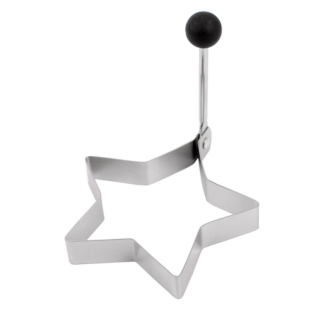 Stainless Steel Home Folding Handle Star Shaped Frying Egg Mold Ring Silver Tone Black