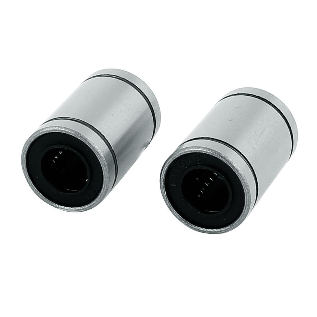 2 Pcs LM10UU 10mm x 19mm x 29mm Silver Tone Carbon Steel Linear Motion Ball Bearing