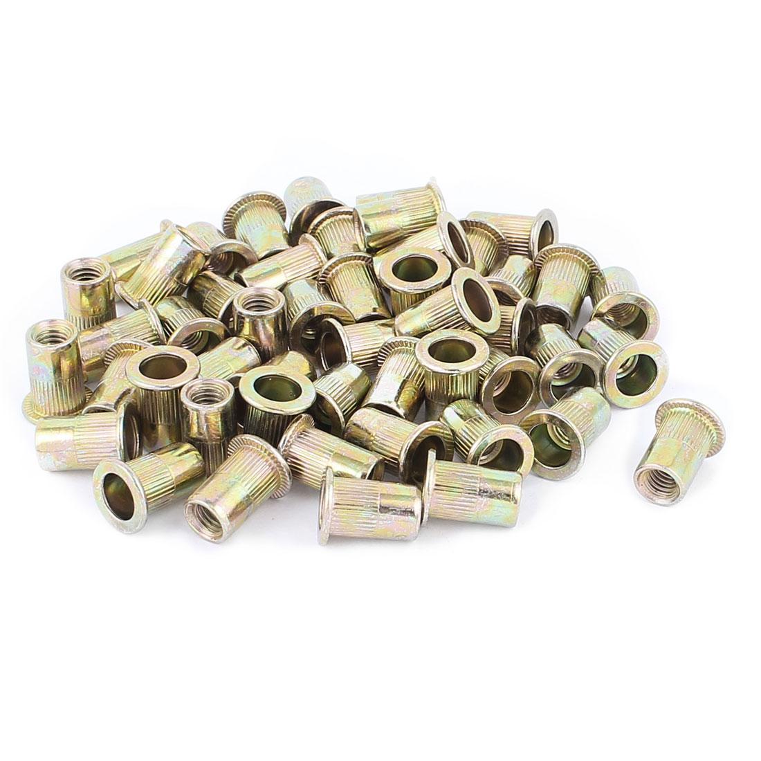 50 Pcs M6x15 Zinc Plated Carbon Steel Rivet Nut Insert Nutsert Fasteners