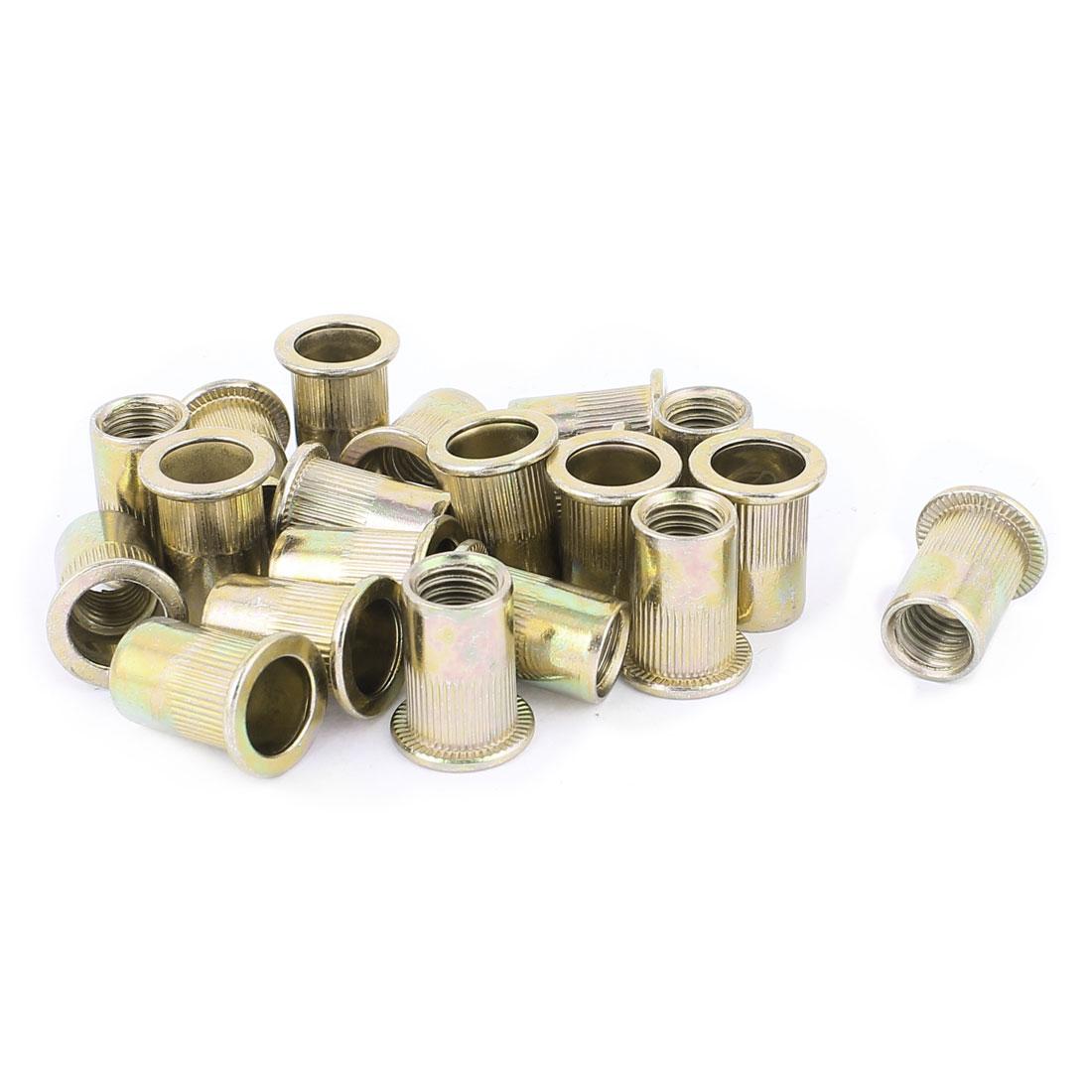 20 Pcs M10x21 Zinc Plated Carbon Steel Rivet Nut Insert Nutsert
