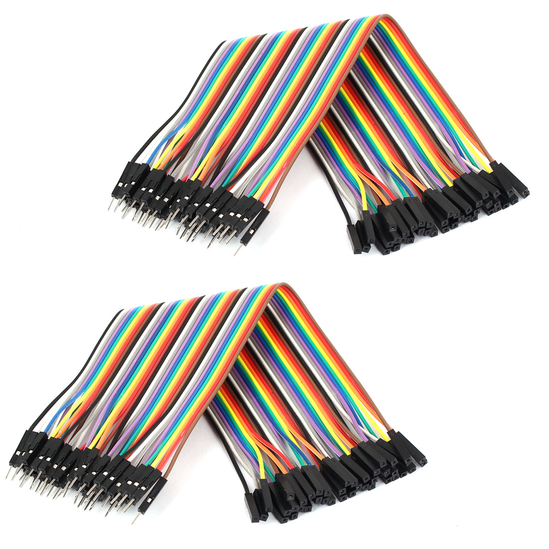 0.66ft 40 Pin 40 Way M/F Connector IDC Flat Rainbow Ribbon Cable 2pcs