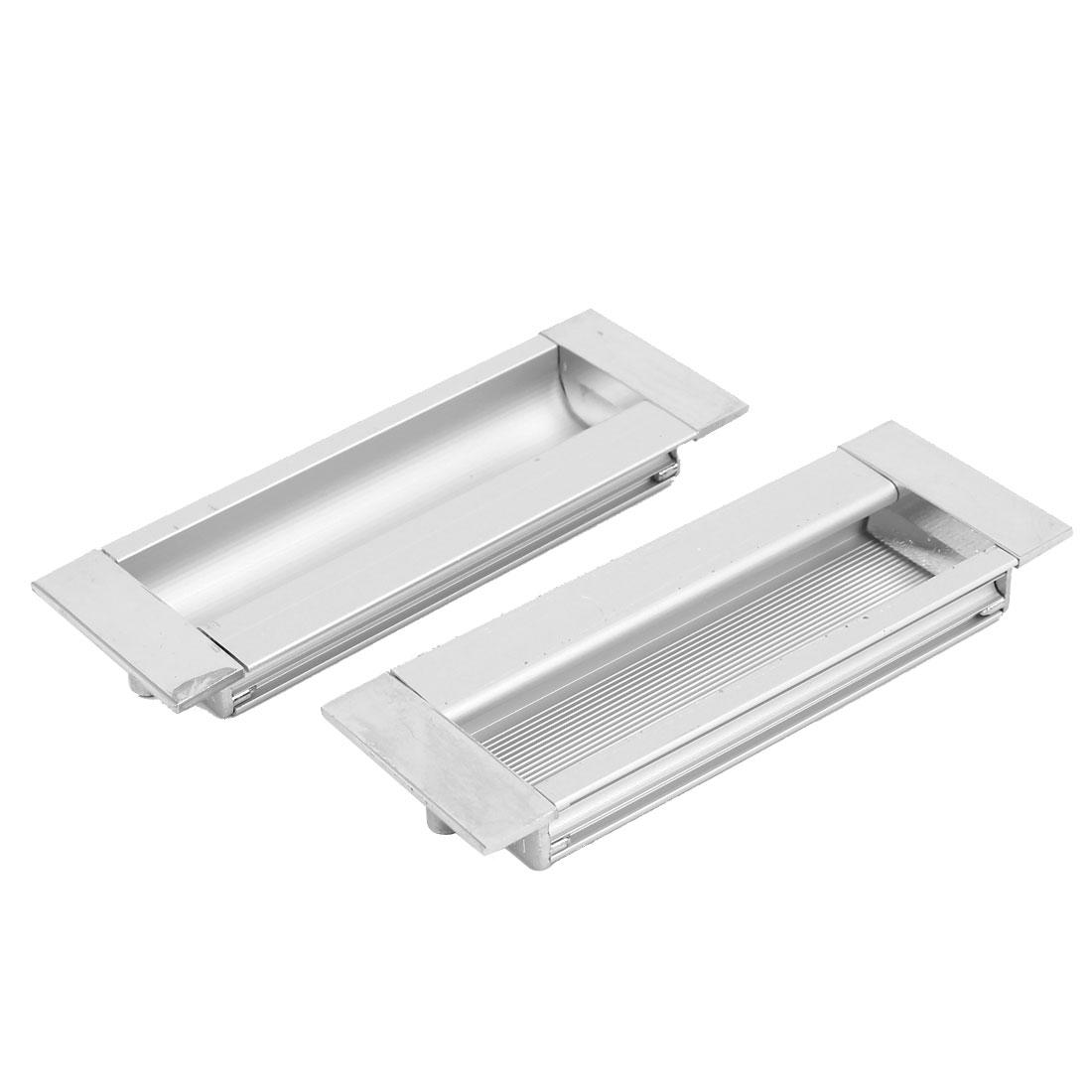 Drawer Cabinet Cupboard Sliding Door Rectangular Flush Pull Handle 110mm x 39mm 2 Pcs