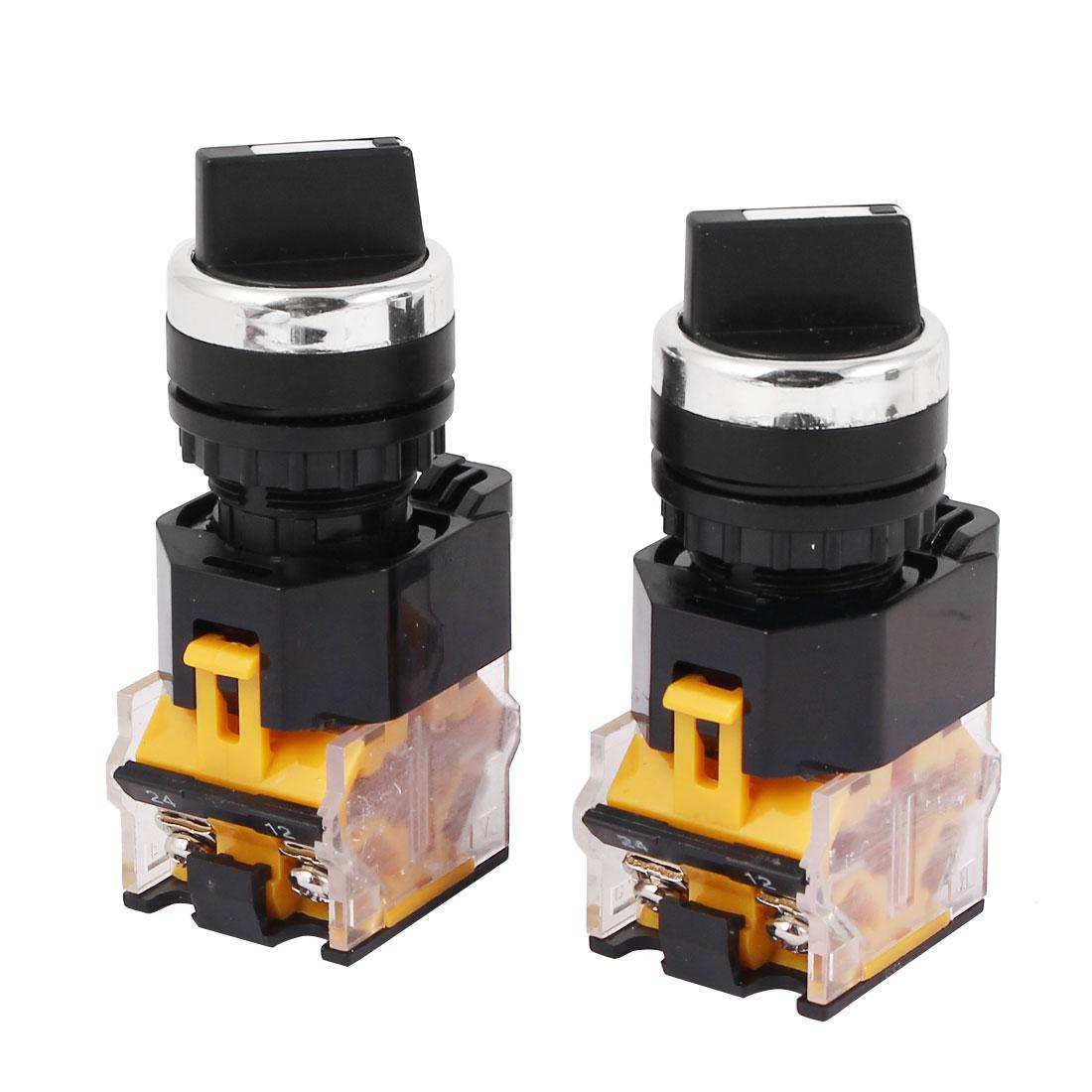 LA38-203 AC 400V 10A 2 Position ON/OFF Rotary Selector Switch Orange 2 Pcs