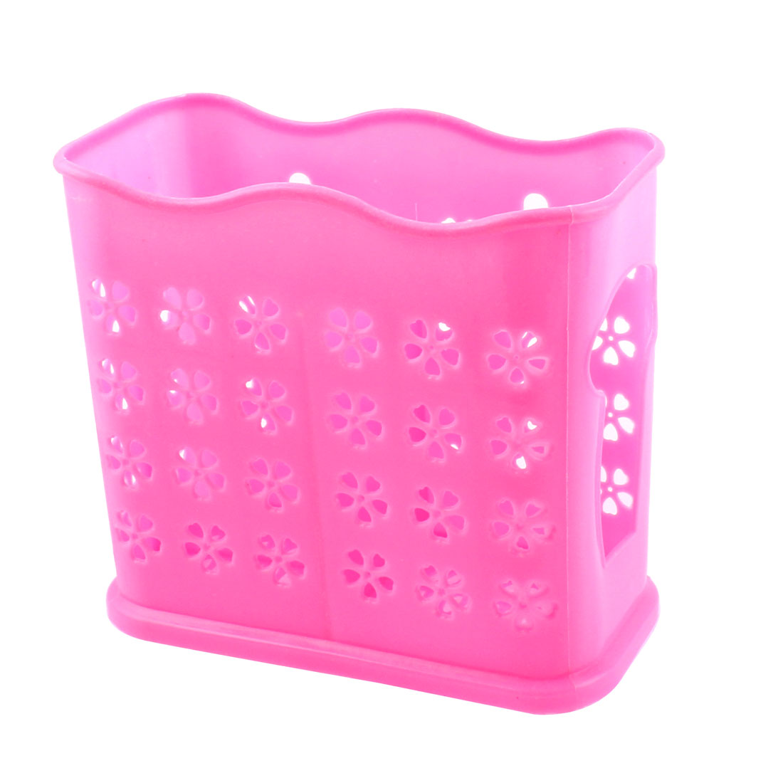 Kitchen 2 Compartments Hollow Out Fork Spoon Chopsticks Case Cage Holder Pink