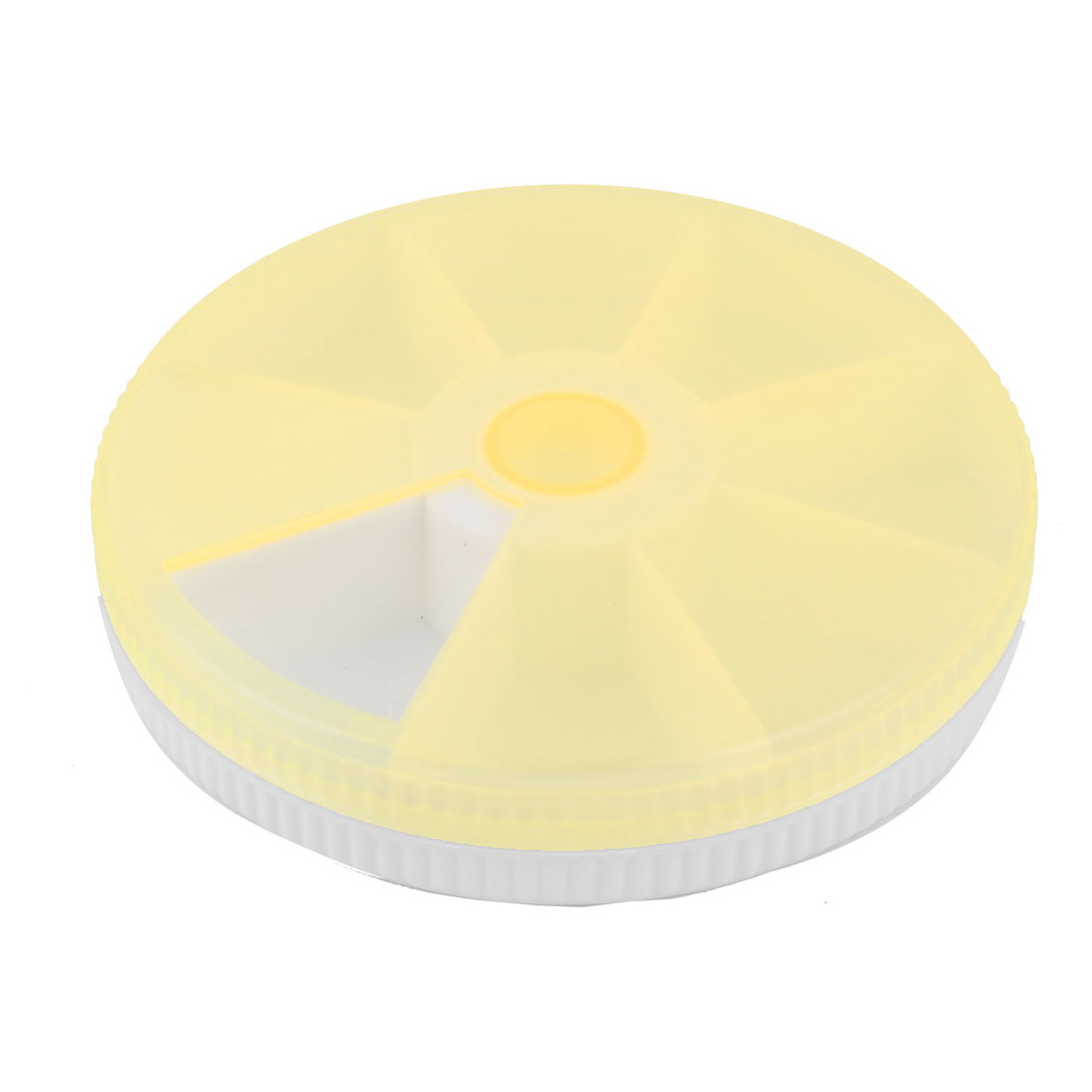 Home Plastic Round 7 Compartments Days Medicine Pill Box Case Pillbox Yellow Clear