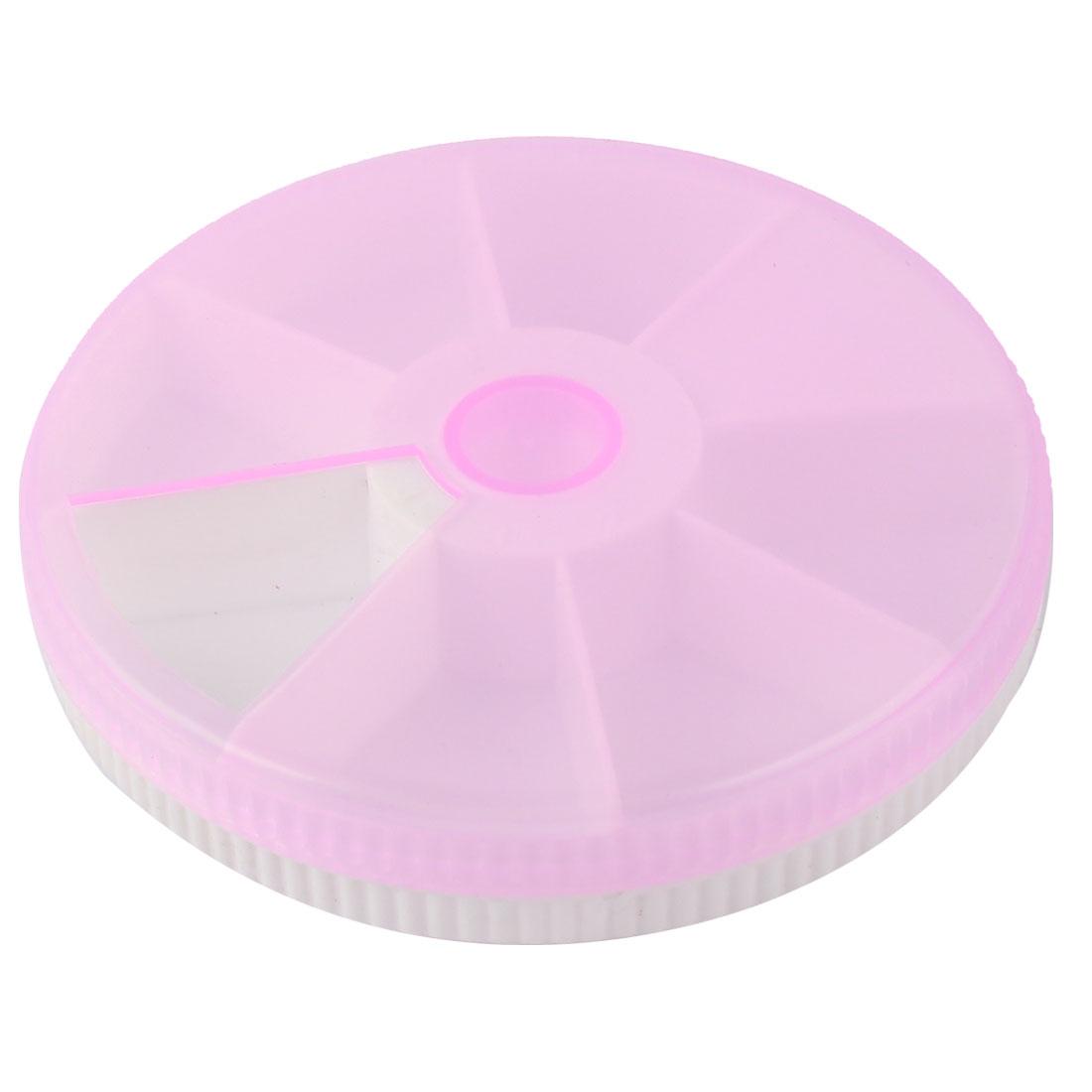 Home Plastic Round 7 Compartments Days Medicine Pill Box Case Pillbox Pink