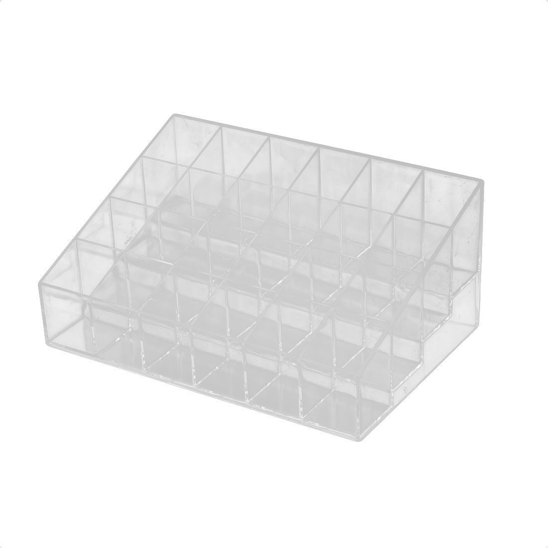 Clear Plastic Trapezoid 24 Grids Makeup Cosmetic Lipstick Organizer Display Stand Rack
