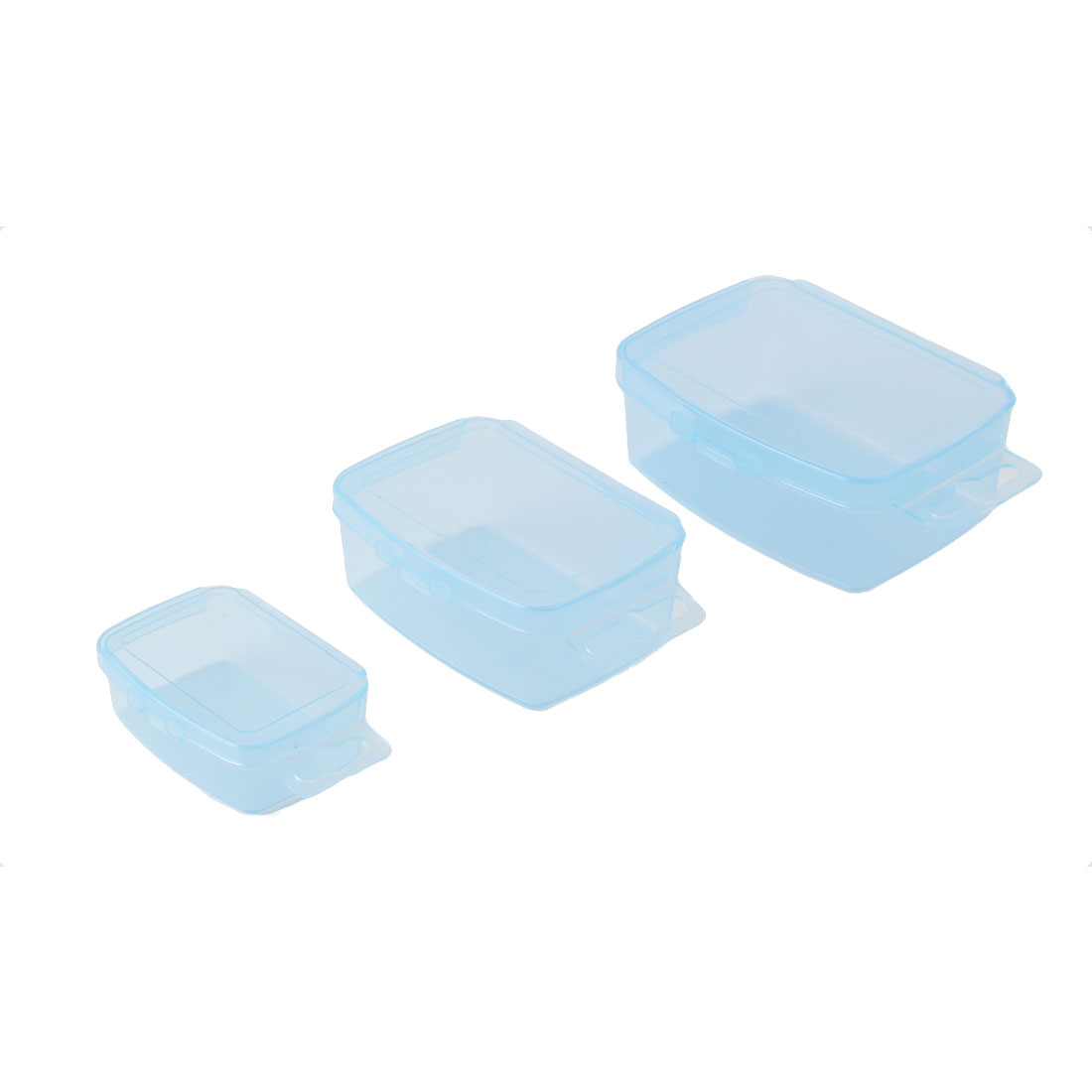 Home Travel Portable Plastic Rectangle Storage Box Case Container Holder Blue 3 in 1
