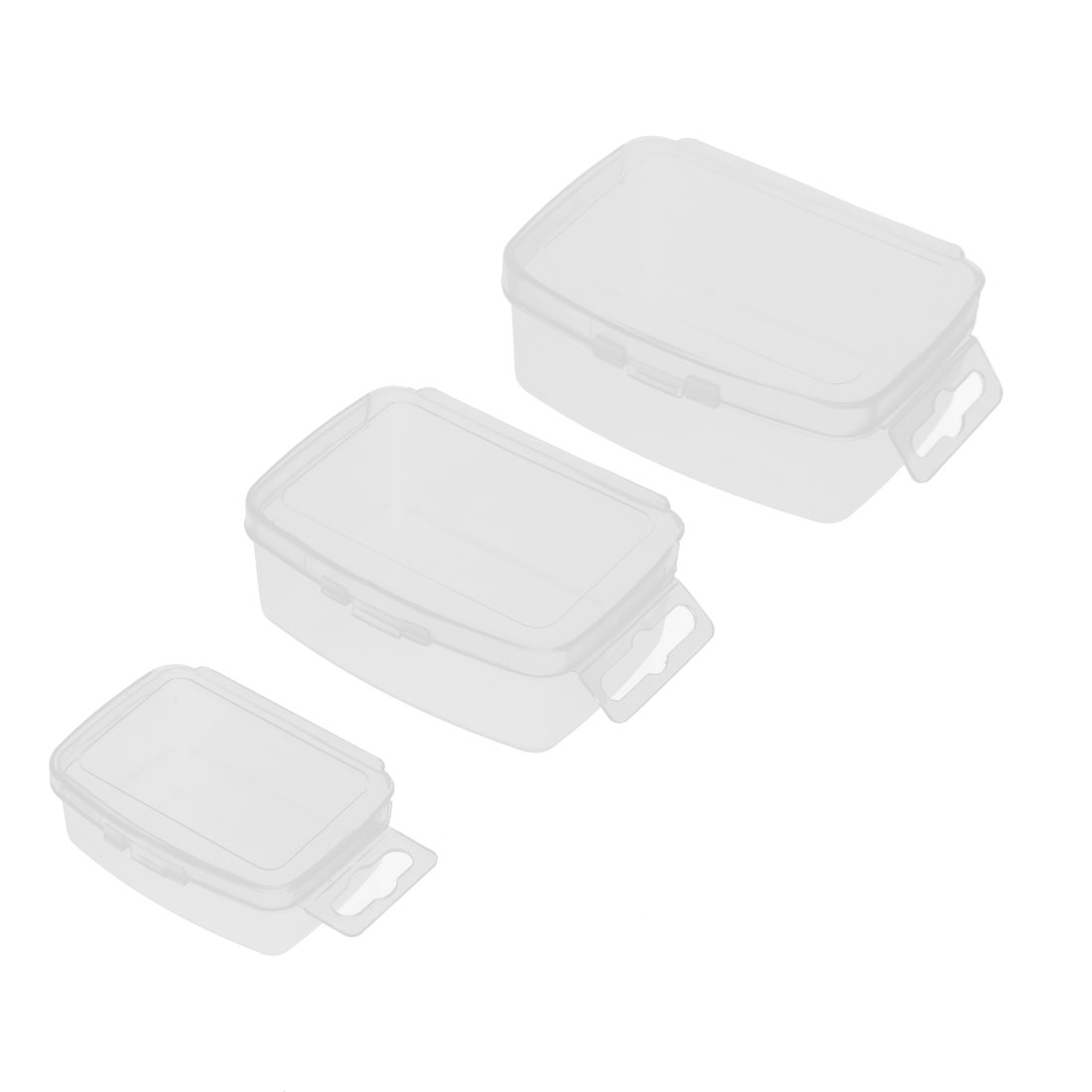 Home Travel Portable Plastic Rectangle Storage Box Case Container Holder Clear 3 in 1