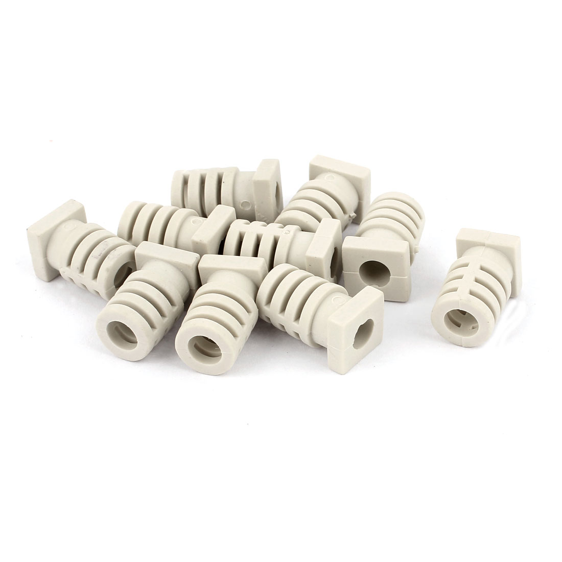 10pcs 5.7mm Inner Dia Rubber Strain Relief Cord Boot Protector Cable Sleeve Hose Gray