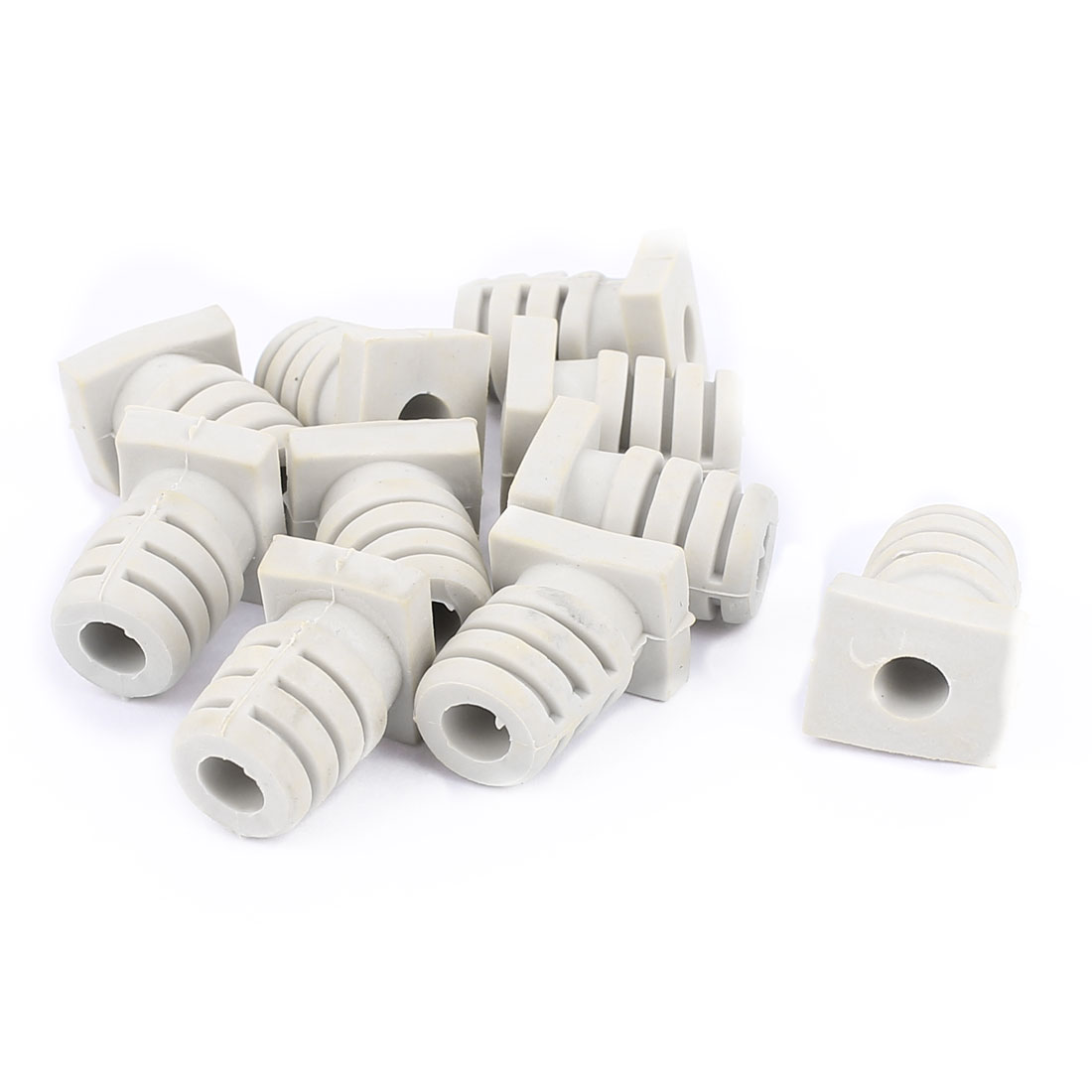 10pcs 5mm Inner Dia Rubber Strain Relief Cord Boot Protector Cable Sleeve Beige