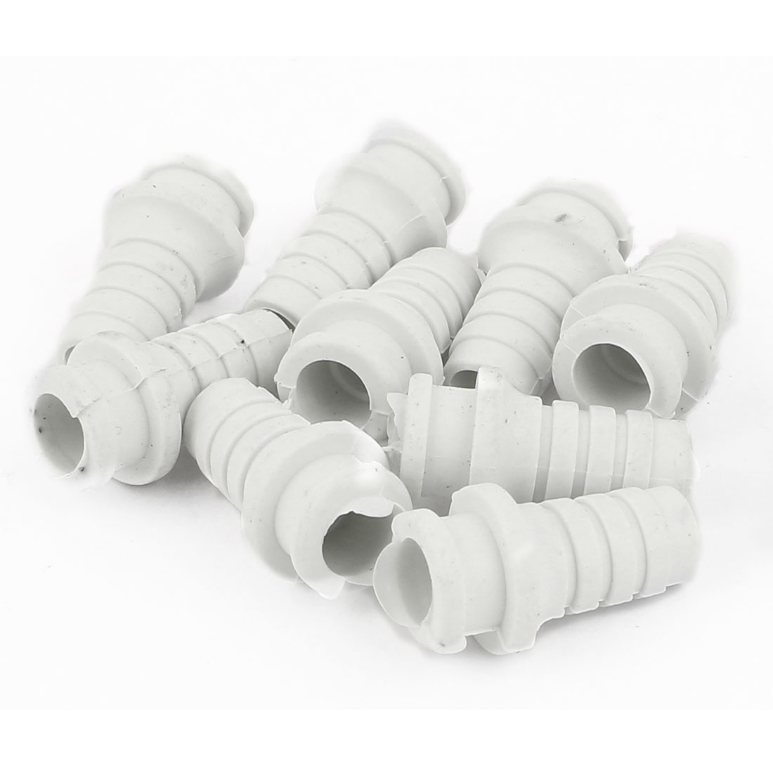 10 Pcs 7.5mm Inner Dia Rubber Strain Relief Cord Boot Protector Cable Hose White