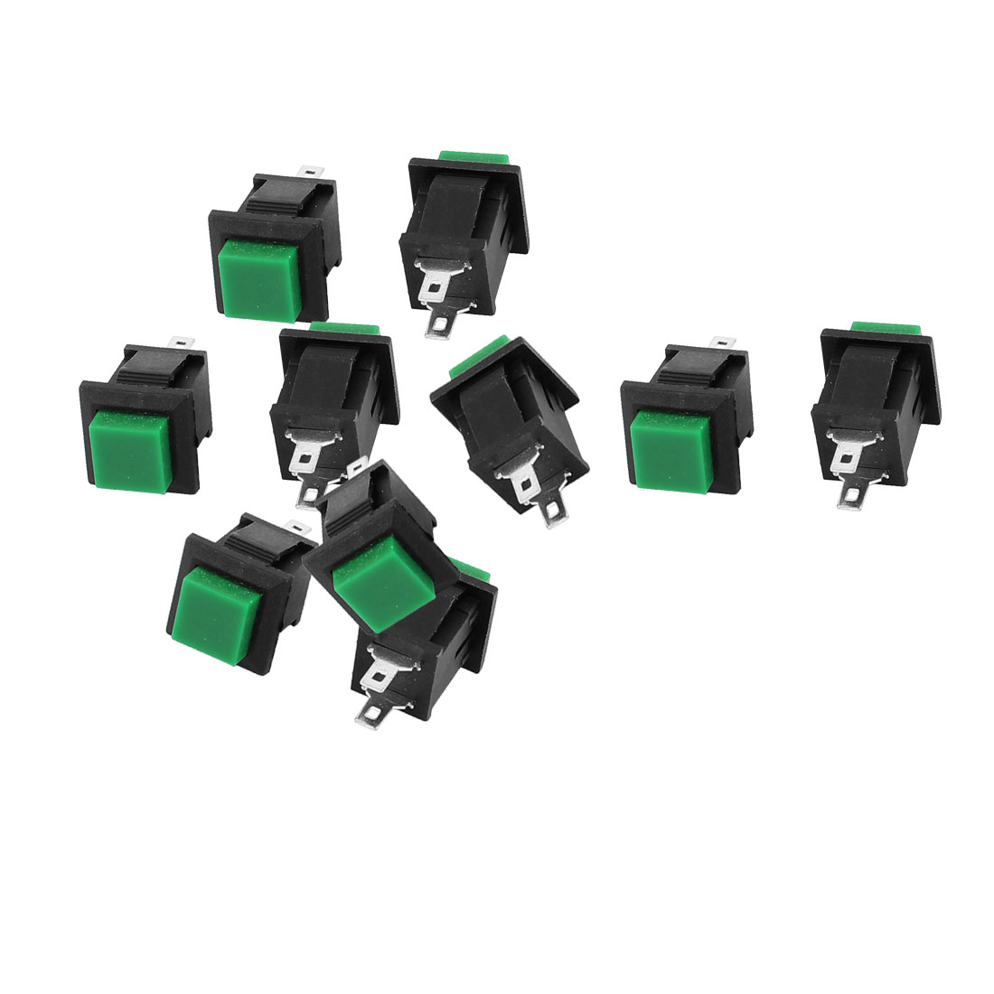 10pcs AC 250V 1A 2 Terminals NC SPST Momentary Square Head Push Button Switch Green