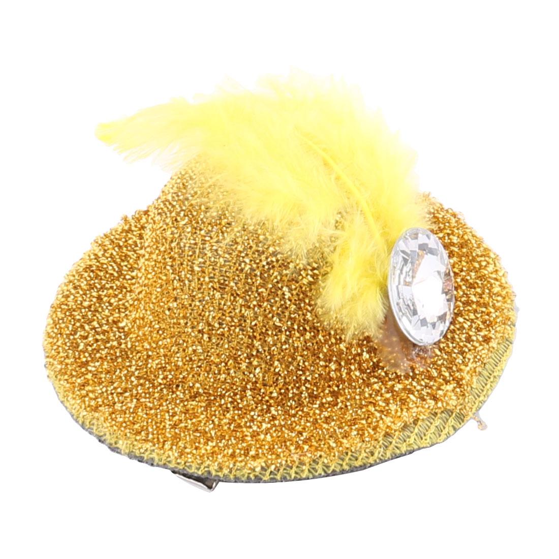 Lady Party Bag Clothes Decor Elegant Topper Shape Alligator Hair Clip Yellow