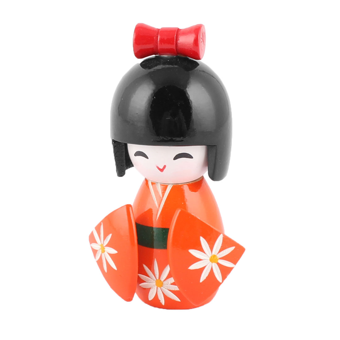 Family Wood Japenese Kokeshi Doll Desktop Ornament Collection Orange 11cm Height