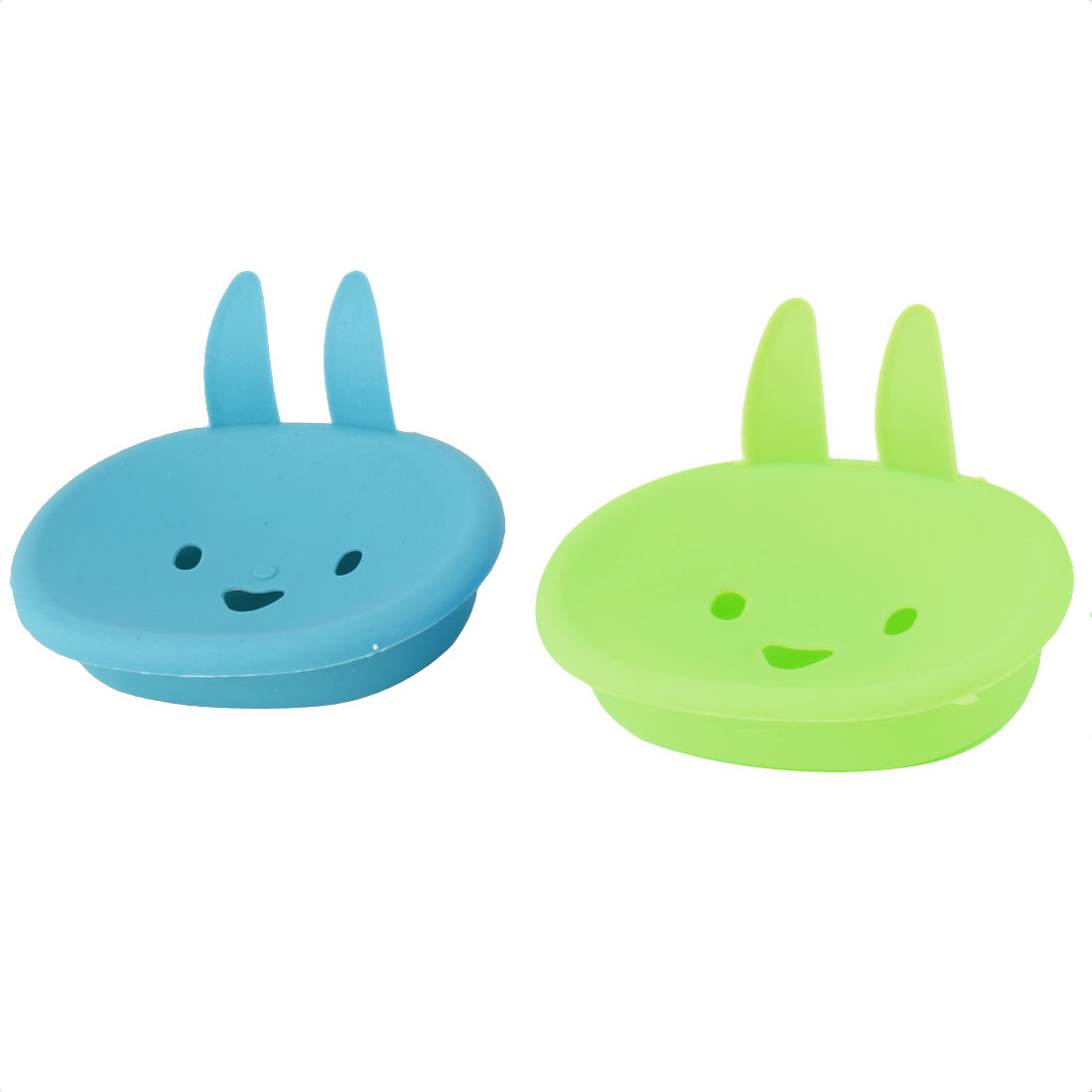 Bathroom Plastic Bunny Face Shape Soap Container Holder Case Box Blue Green 2pcs