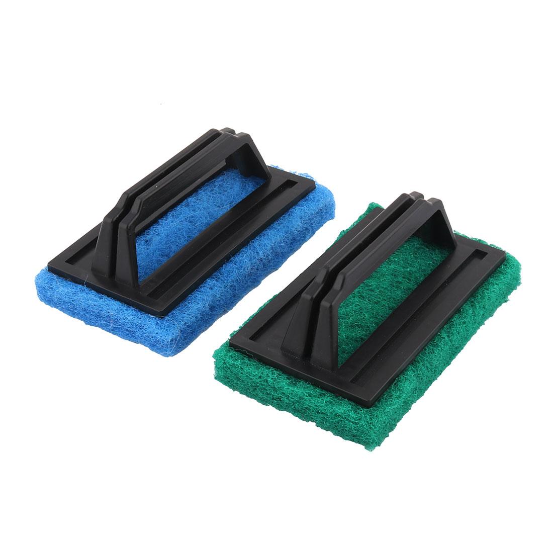 Household Kitchen Bathtub Plastic Handle Sponge Pad Washing Cleaning Brush Tool 2pcs