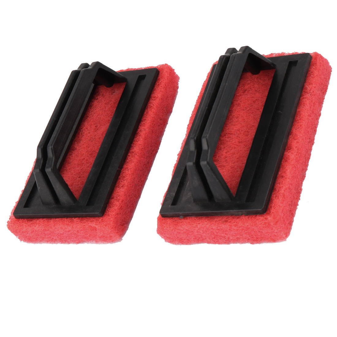 Kitchen Bathtub Plastic Handle Sponge Pad Washing Cleaning Brush Tool Black Red 2pcs