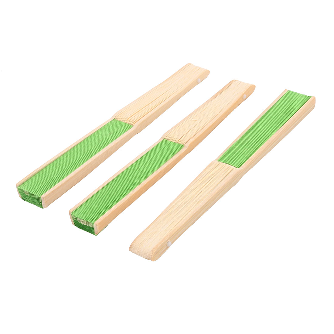 Ladies Wedding Party Bamboo Frame Paper Handheld Folding Hand Fan Green 3pcs