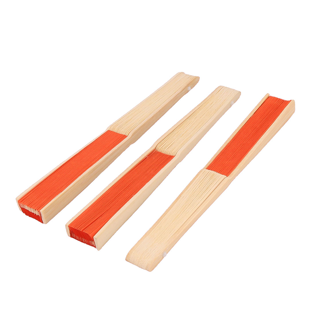 Ladies Wedding Party Bamboo Frame Paper Handheld Folding Hand Fan Orange 3pcs