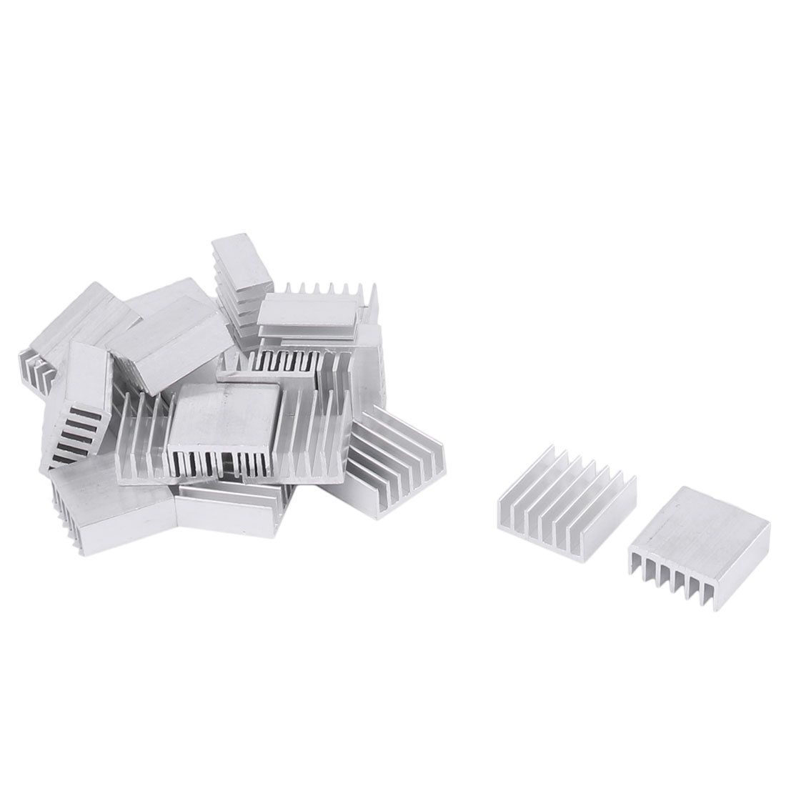 14mmx14mmx6mm Silver Tone Aluminium Power Amplifier Heat Sink Radiator Heatsink 25pcs