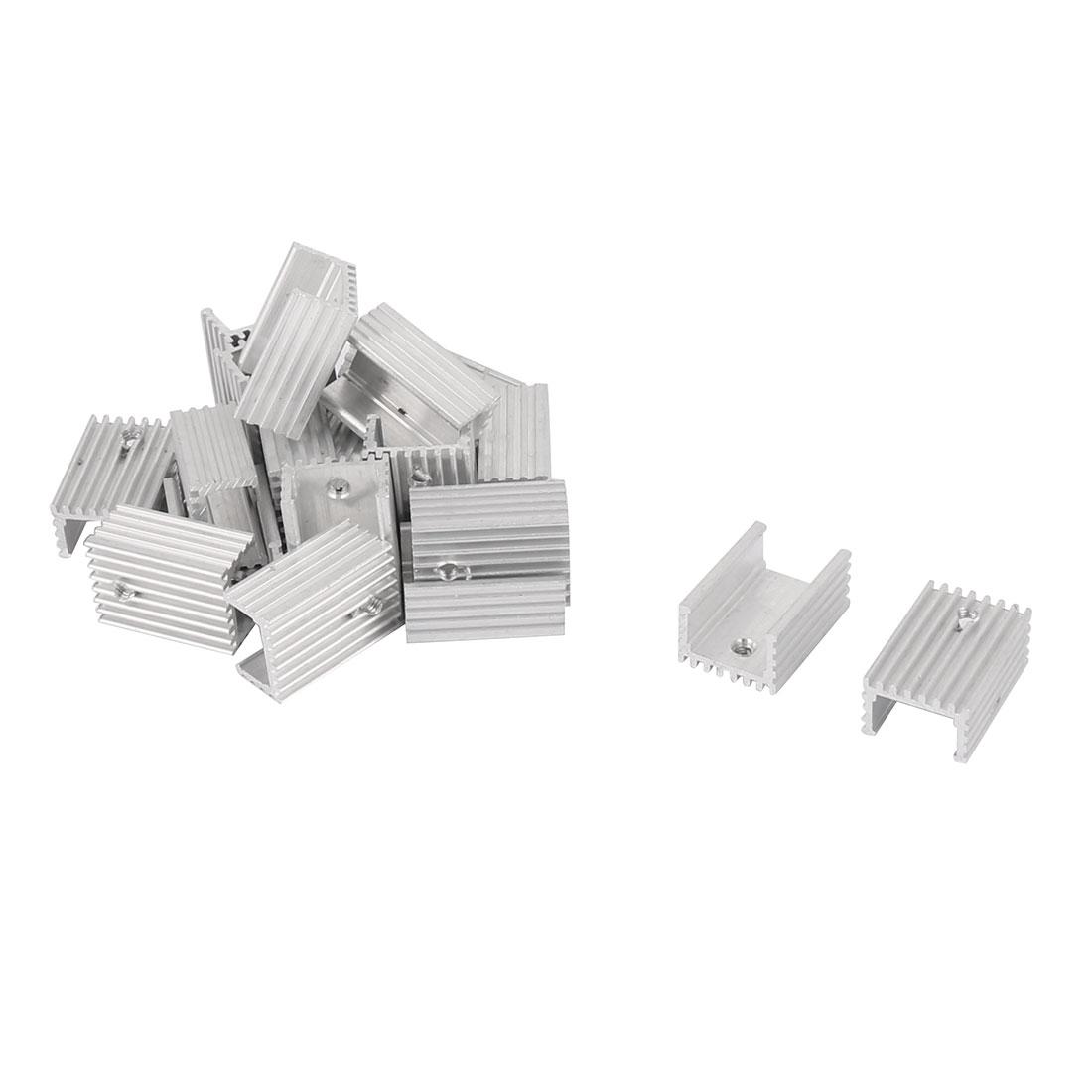 22mm x 15mm x 10mm Silver Tone Aluminium Power Amplifier Heat Sink Radiator Heatsink 20pcs