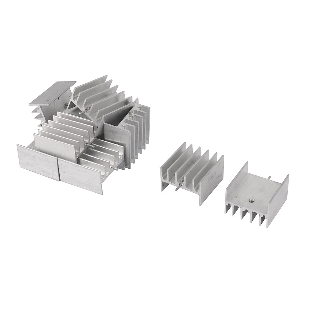 25mm x 24mm x 15mm Silver Tone Aluminium Power Amplifier Heat Sink Radiator Heatsink 10pcs