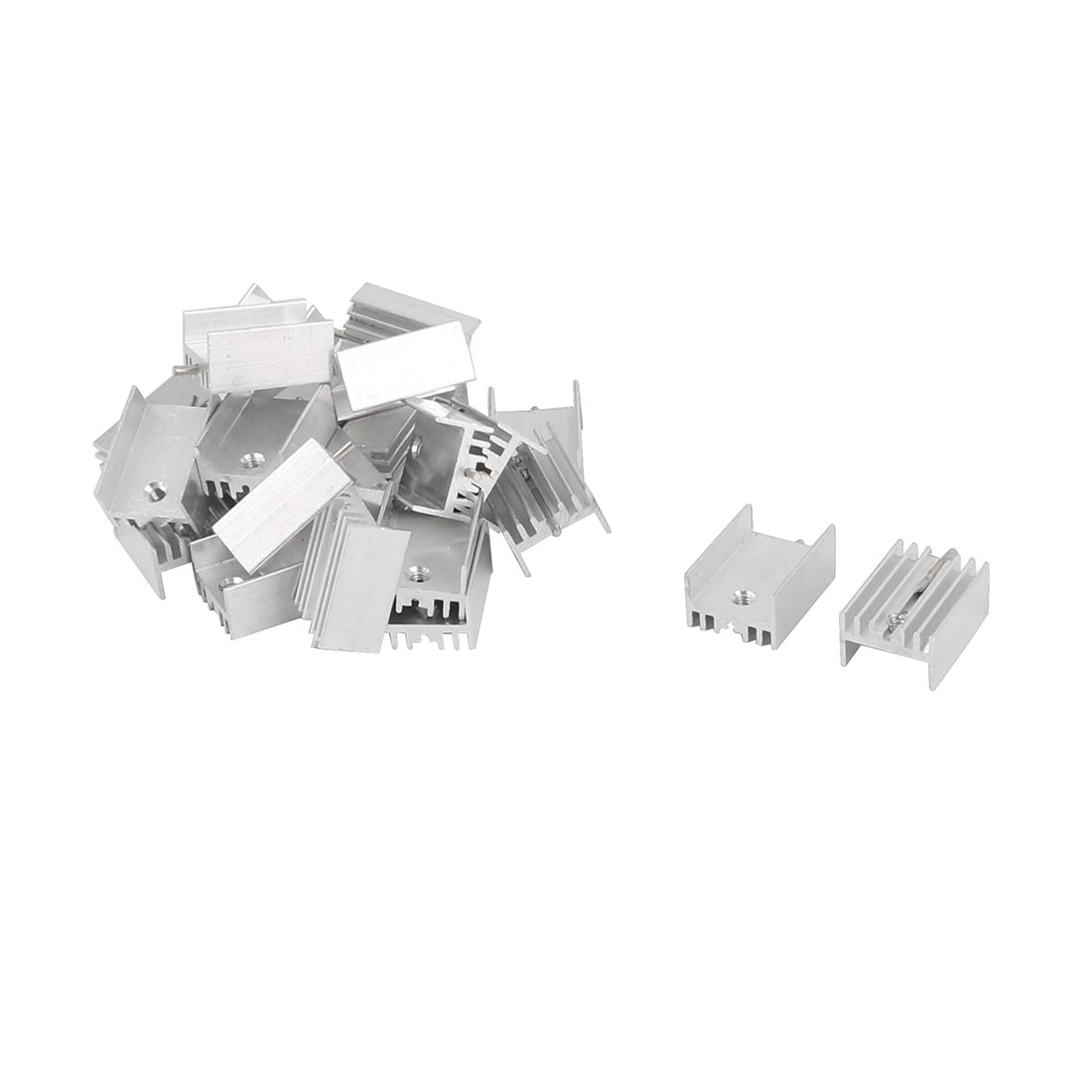 20mm x 15mm x 10mm Silver Tone Aluminium Power Amplifier Heat Sink Radiator Heatsink 25pcs