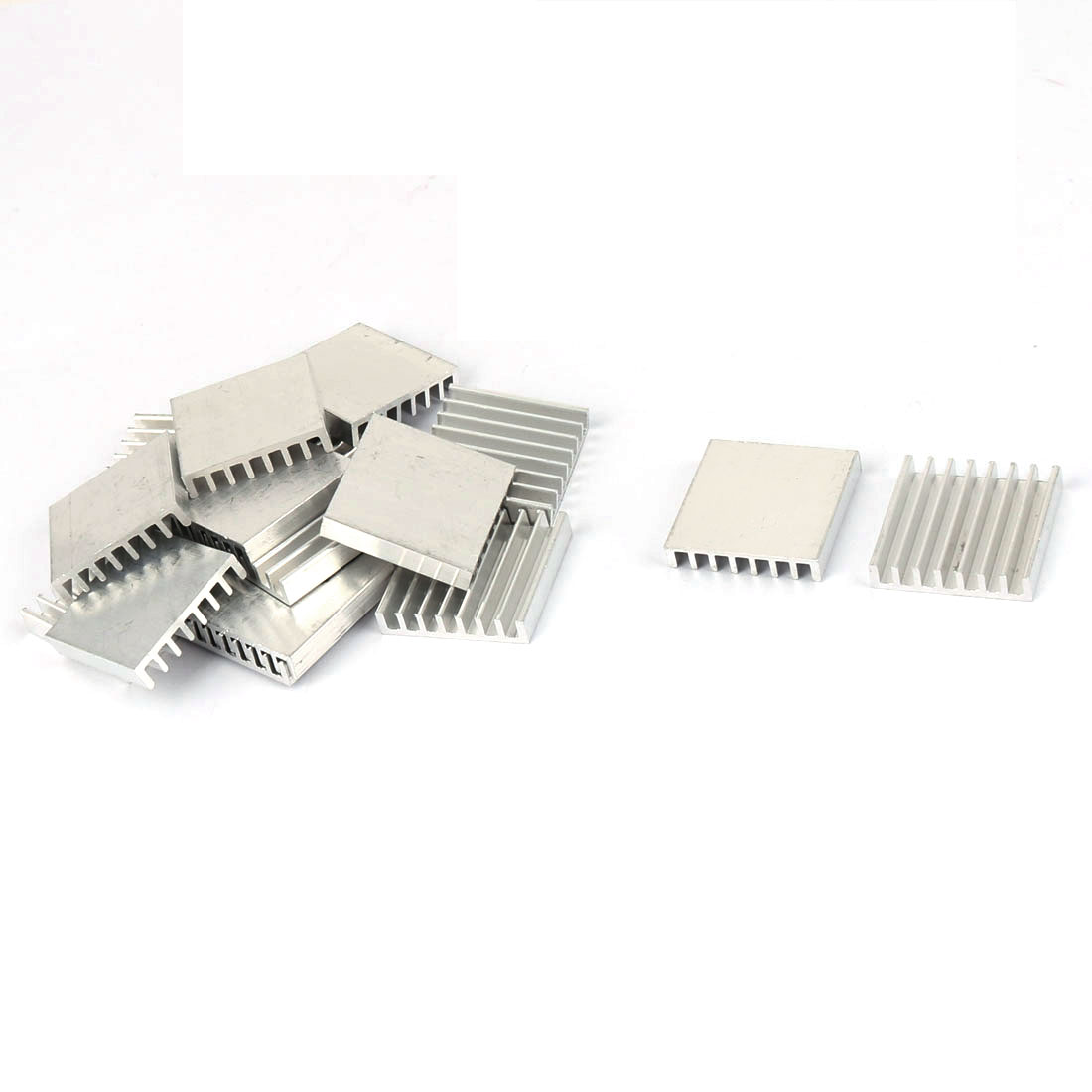 25mmx25mmx5mm Silver Tone Aluminium Power Amplifier Heat Sink Radiator Heatsink 16pcs