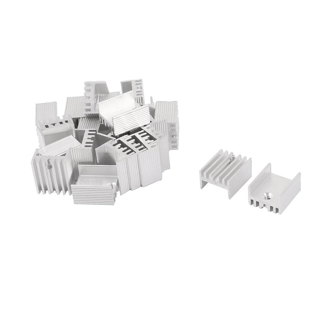17mm x 15mm x 10mm Silver Tone Aluminium Power Amplifier Heat Sink Radiator Heatsink 25pcs