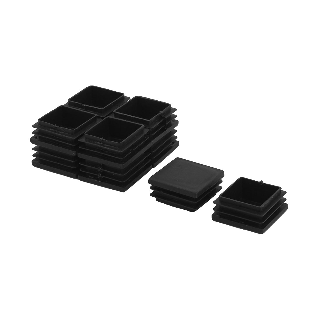 Home Office Plastic Square Table Chair Legs Tube Insert Black 40 x 40mm 10 PCS