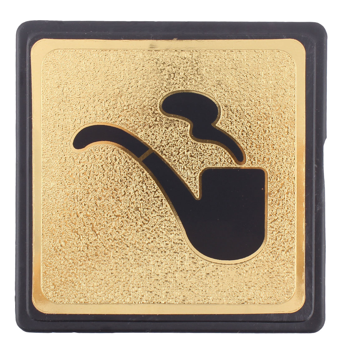 Black Gold Tone Plastic Smoking Sign Board w Adhesive Tape