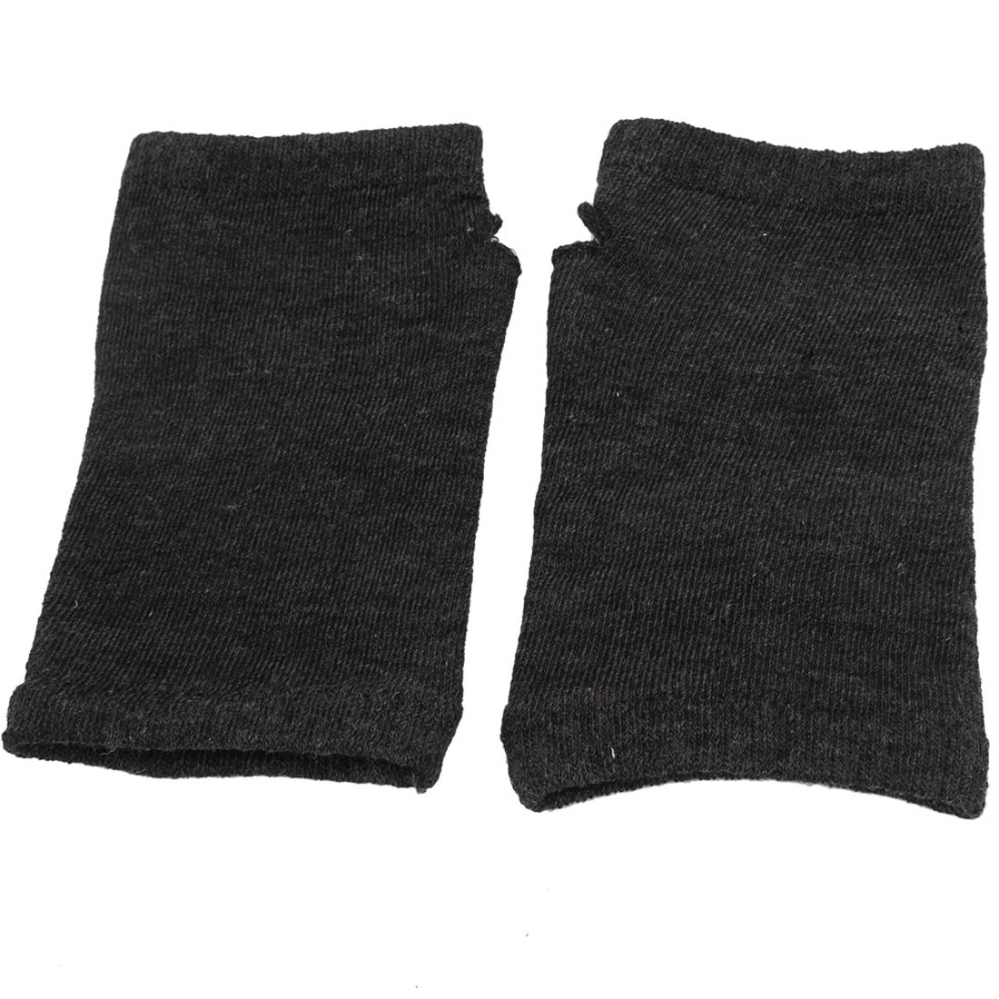 Unisex Cotton Blends Stretchy Fingerless Warm Soft Gloves Dark Gray Pair