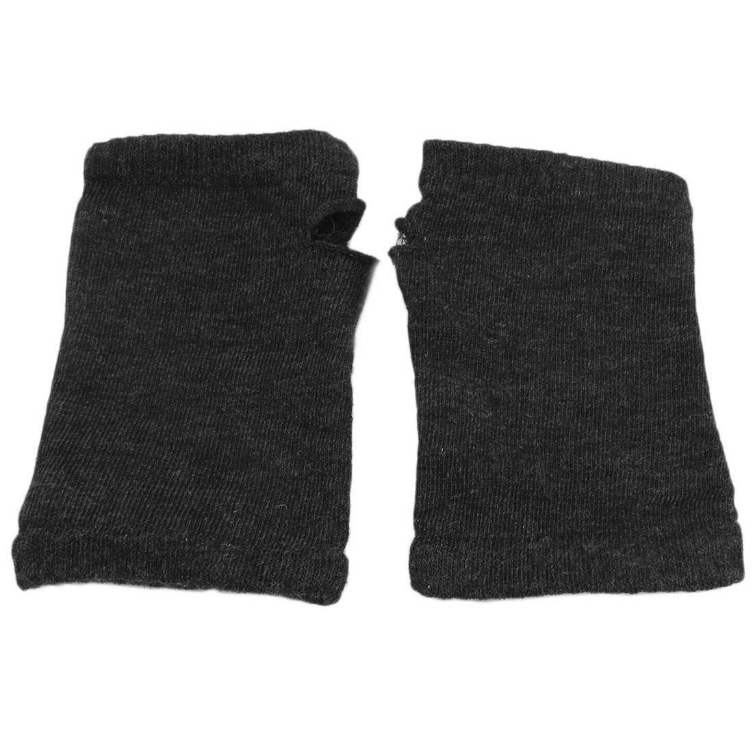 Unisex Cotton Blends Stretchy Fingerless Warm Fashional Soft Gloves Dark Gray Pair
