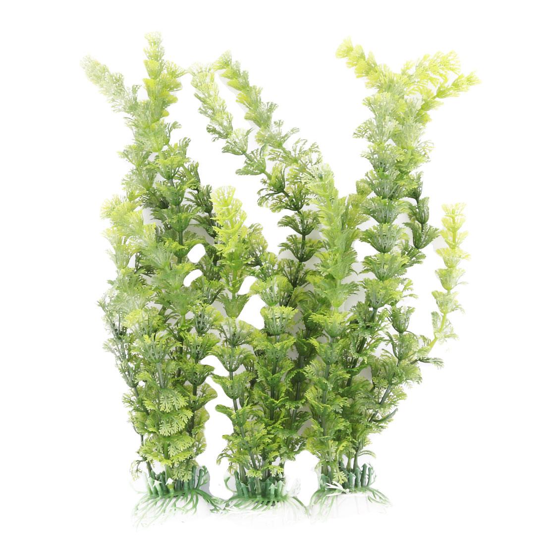 Aquarium Ceramic Base Plastic Artificial Water Grass Plant Ornament Green 3 Pcs