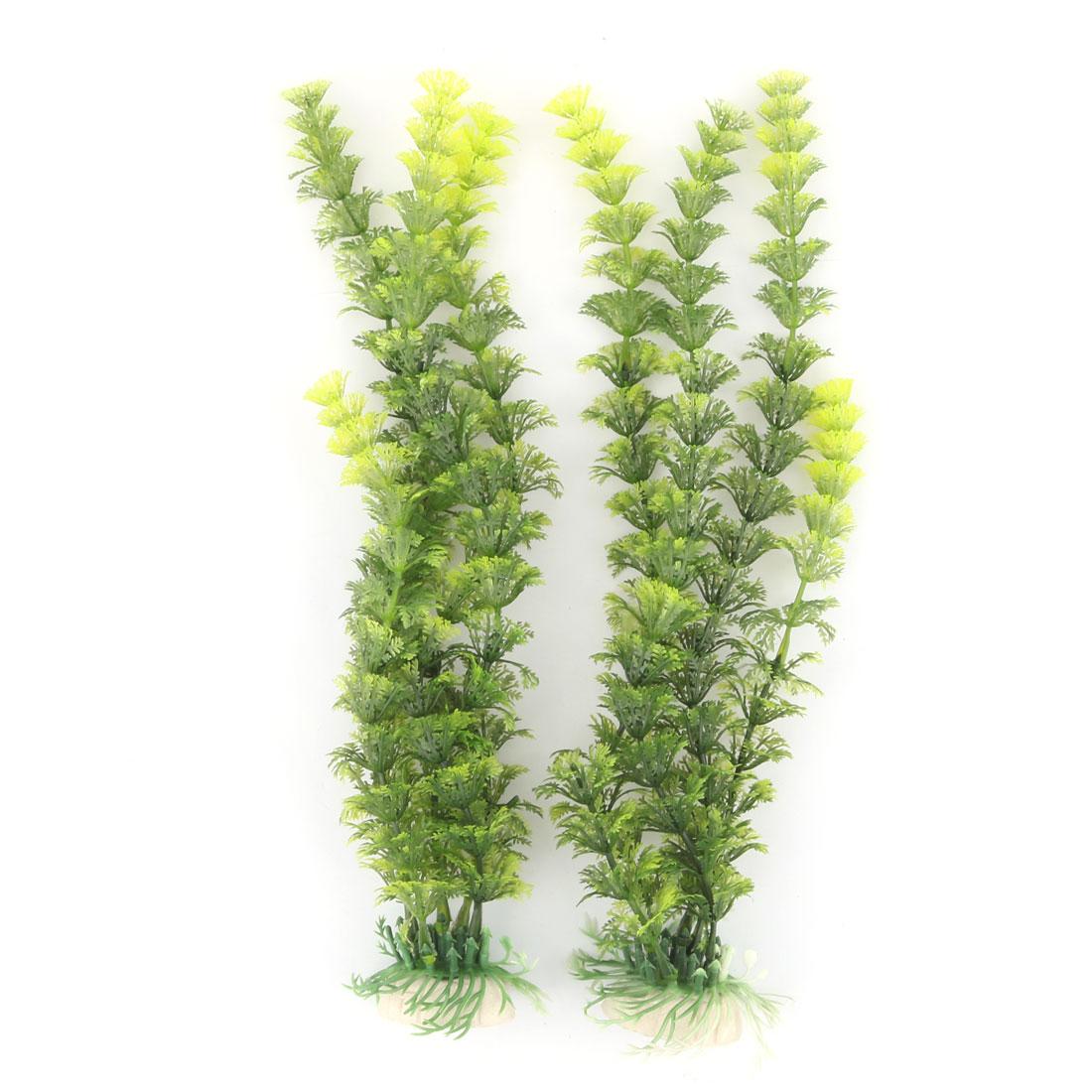 Aquarium Ceramic Base Plastic Artificial Underwater Water Grass Plant Ornament Green 2 Pcs