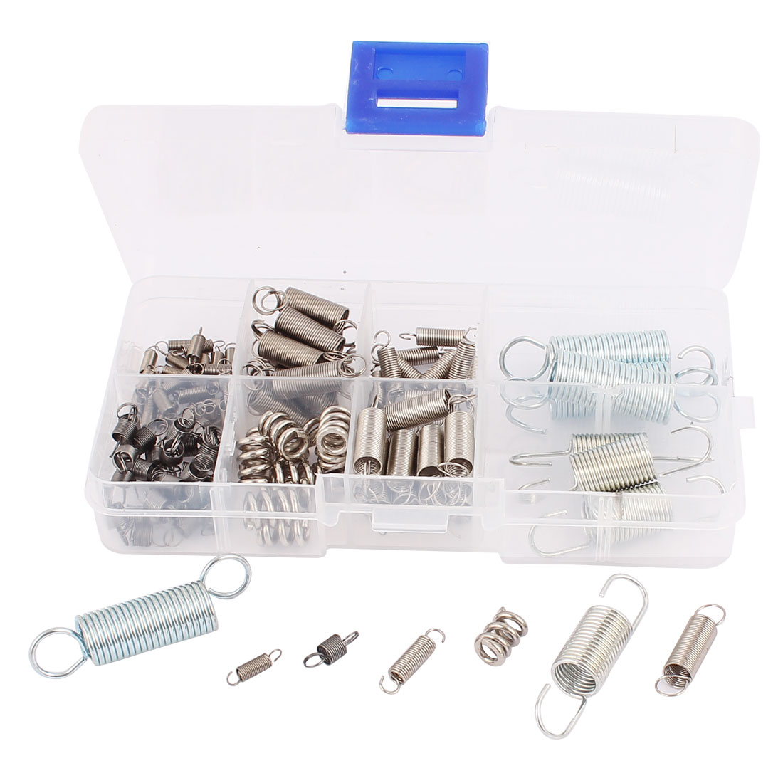 100Pcs Assorted Nickel plating Stainless steel Tension Compression Spring Box Packed Kit