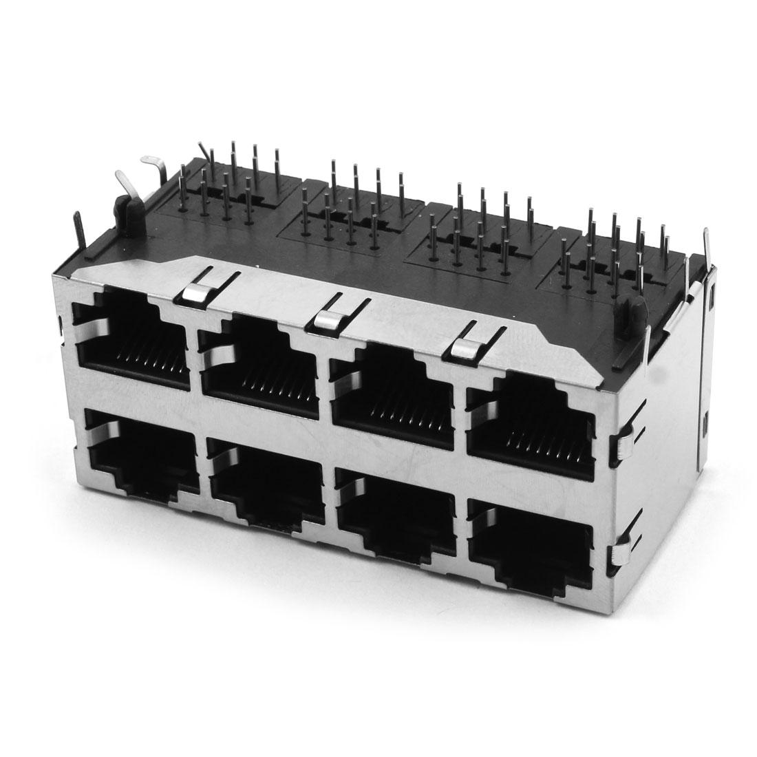 RJ45 8P8C Female 8 Port PCB Mounting Modular Jack Ethernet Network Connector