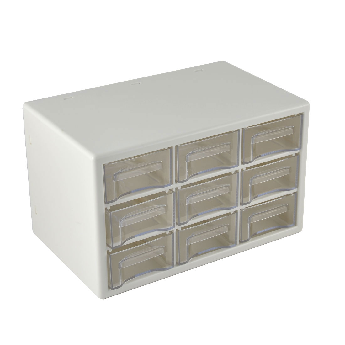 Plastic 9 Compartments Cosmetic Jewelry Cabinet Craft Drawer Box Container Organizer Storage White