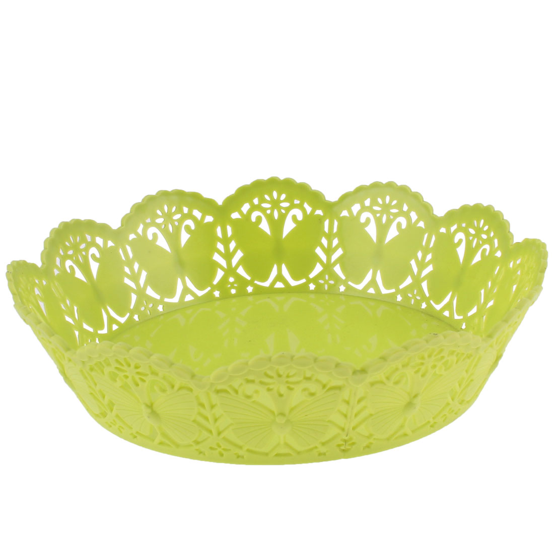 Kitchen Household Plastic Butterfly Pattern Fruits Vegetable Plate Basket Green