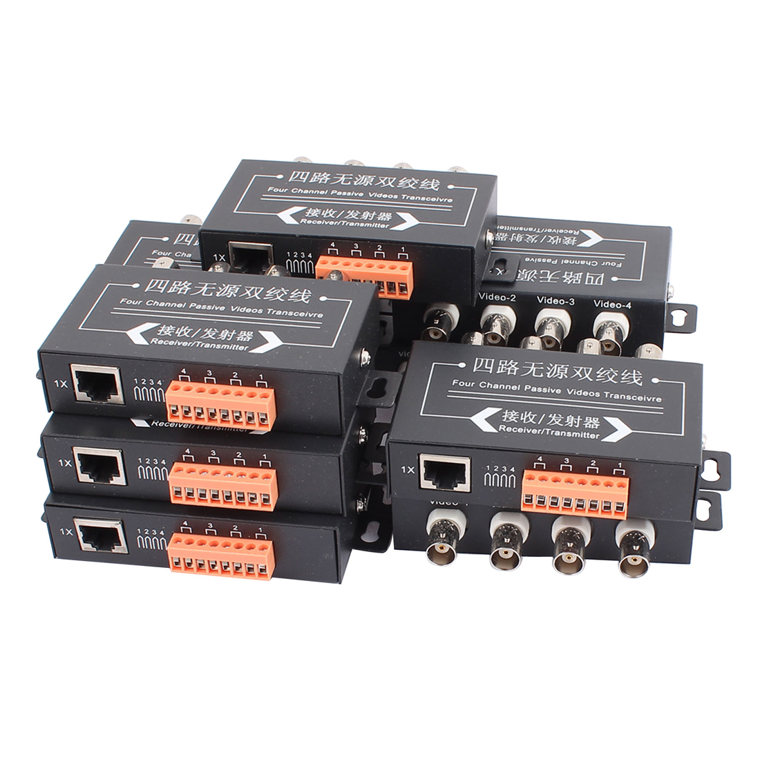 10 Pcs BNC to RJ45 4 Channel Integrated Passive UTP CCTV HD Video Balun Transceiver