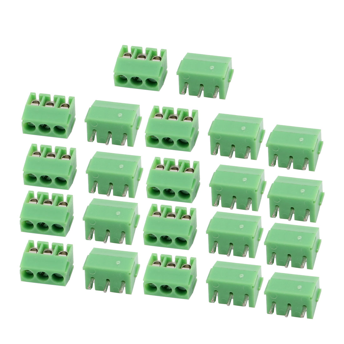 22Pcs AC 300V 10A 3.5mm Pitch 3P Terminal Block PCB Mount Wire Connection