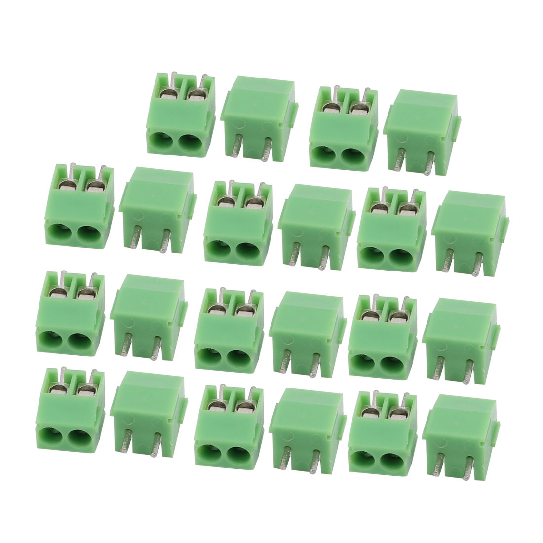 22Pcs AC 300V 10A 3.5mm Pitch 2P Terminal Block PCB Mount Wire Connection