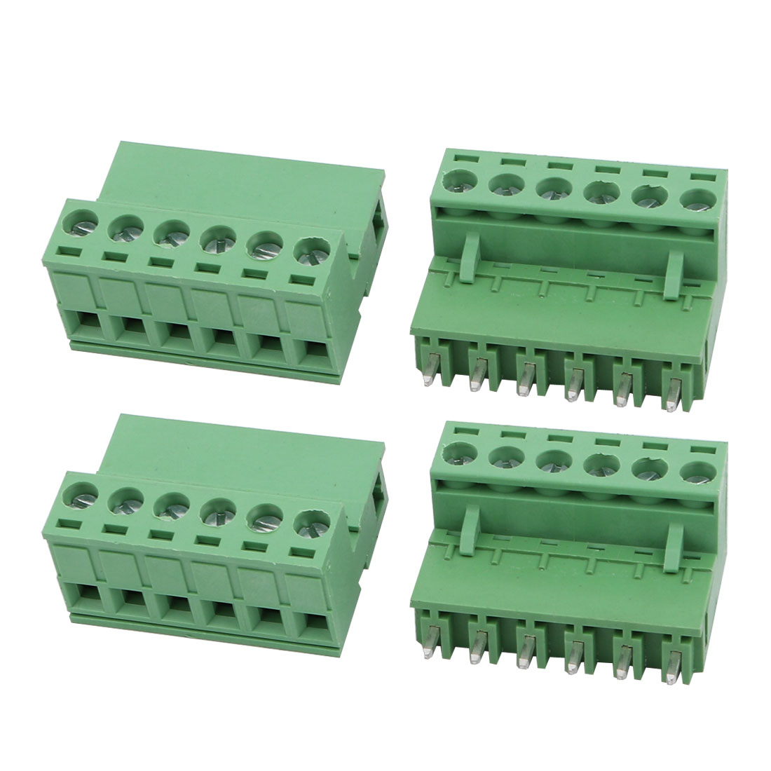 4Sets AC 300V 10A 5.08mm Pitch 6P PCB Terminal Block Female Male Wire Connector