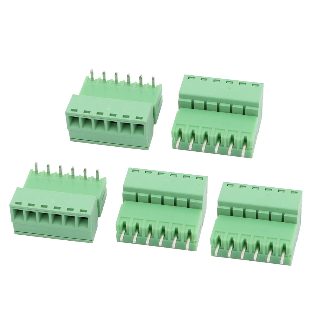 5Sets AC 300V 8A 3.5mm Pitch 6P PCB Terminal Block Female Male Wire Connector
