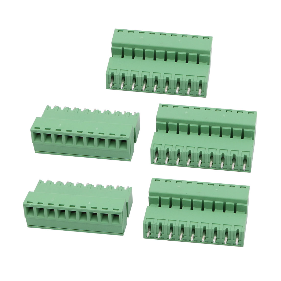 5Sets AC 300V 8A 3.81mm Pitch 9P PCB Terminal Block Female Male Wire Connector